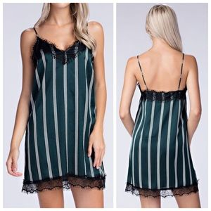 New green lace striped slip dress